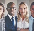 Collage of portraits of an ethnically diverse and mixed age group of focused business professionals