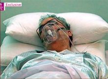 """Released Lockerbie bomber Abdel Baset al-Megrahi, is seen in a hospital bed in Tripoli Sunday Aug. 30, 2009  in this image taken from TV from  footage by Britain's Channel 4 News.  Libyan Secretary of State for Foreign Affairs, Mohammed Siala, said Monday Aug. 31, 2009  that Abdel Baset al-Megrahi was in the hospital and described him as a """"dying man."""" His comments came after Britain's Channel 4 television Sunday night showed footage of the 57-year-old al-Megrahi in a Tripoli hospital bed propped up by pillows and wearing an oxygen mask.  (AP Photo/Channel 4 News, via APTN)  **  TV OUT EDITORIAL USE ONLY  **"""